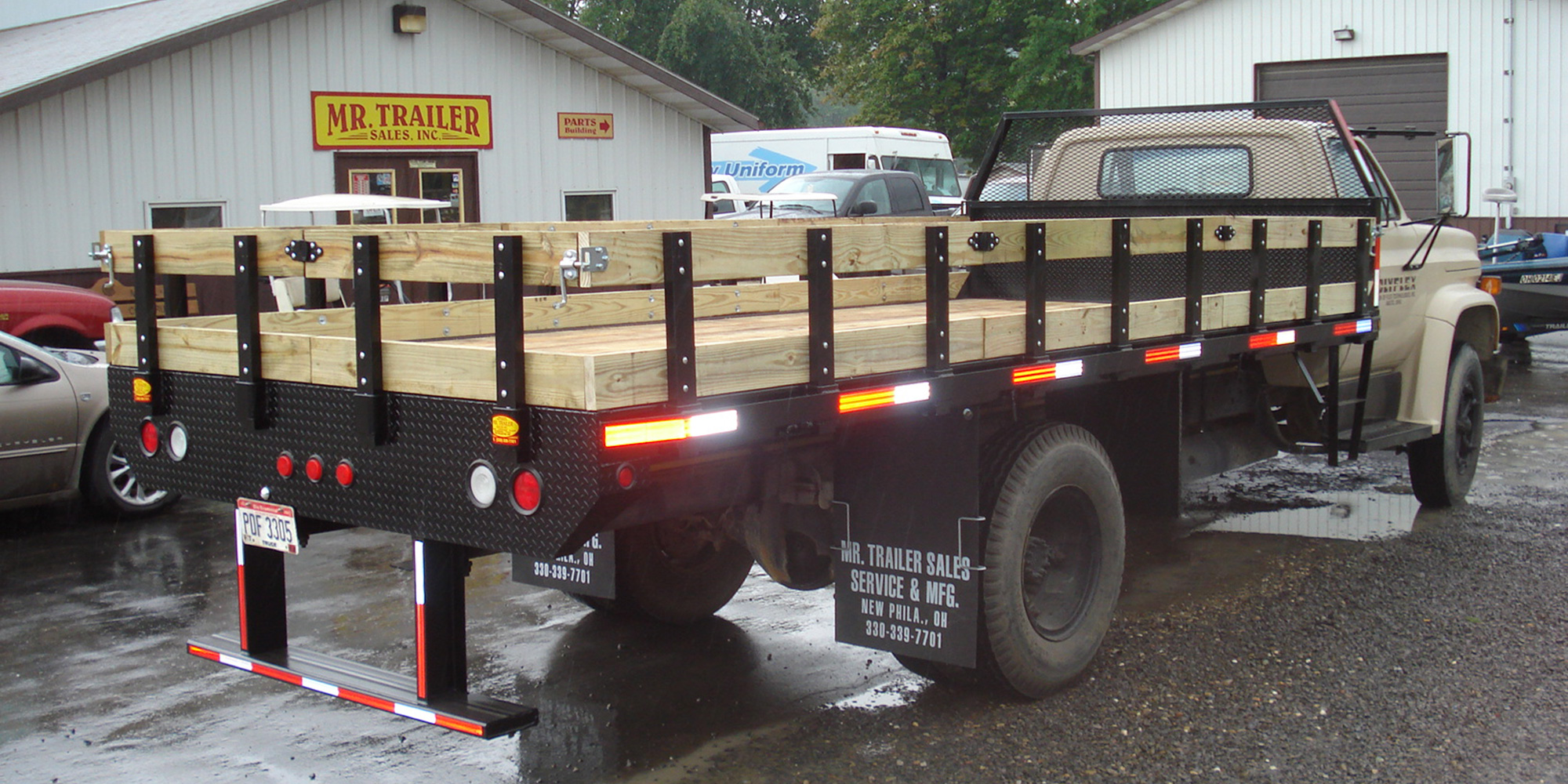 steel flatbed with wood floor and rails